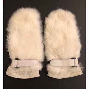 Accessories - Leather & Rabbit Fur Mittens Insulated White OS